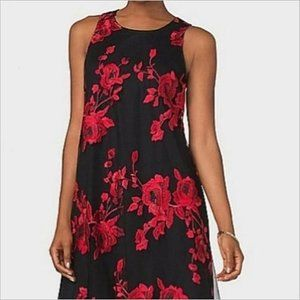 NWT Rose Embroidery Overlay Tie Back Dress